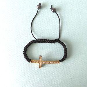 2/$20 Black String Bracelet with Gold Cross